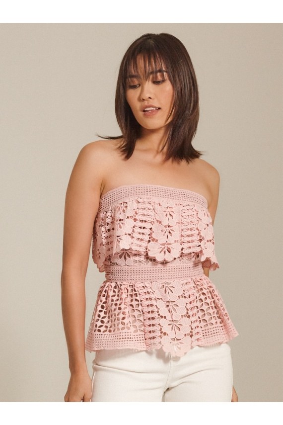 Guipure Lace Tube Top