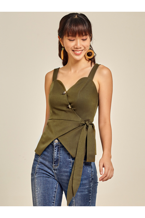 Wrap-Over Cotton Twill Top