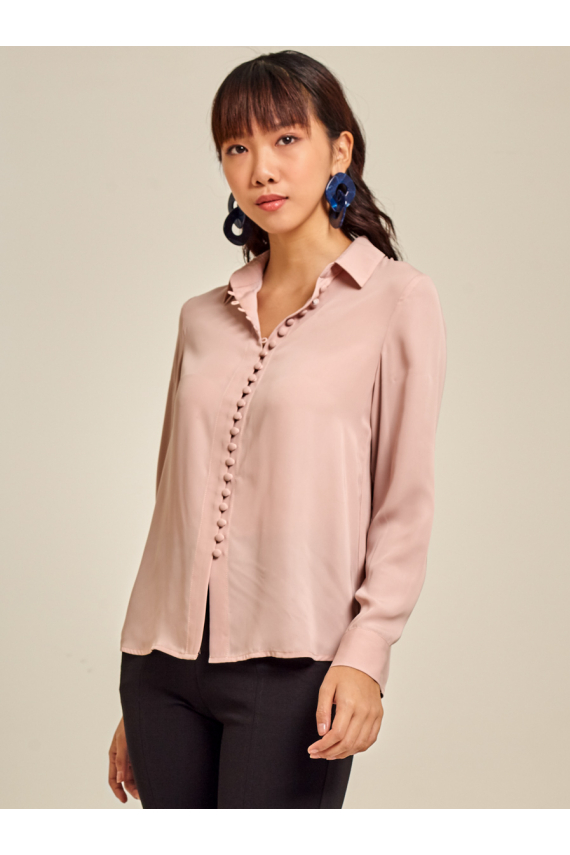 Button-Detailed Crepe Shirt