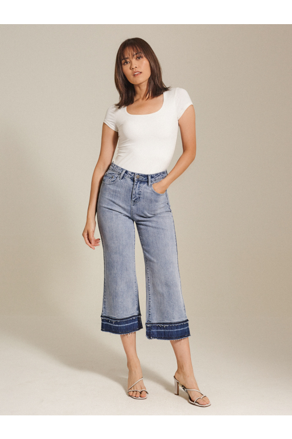 Distressed High-Rise Wide-Leg Jeans