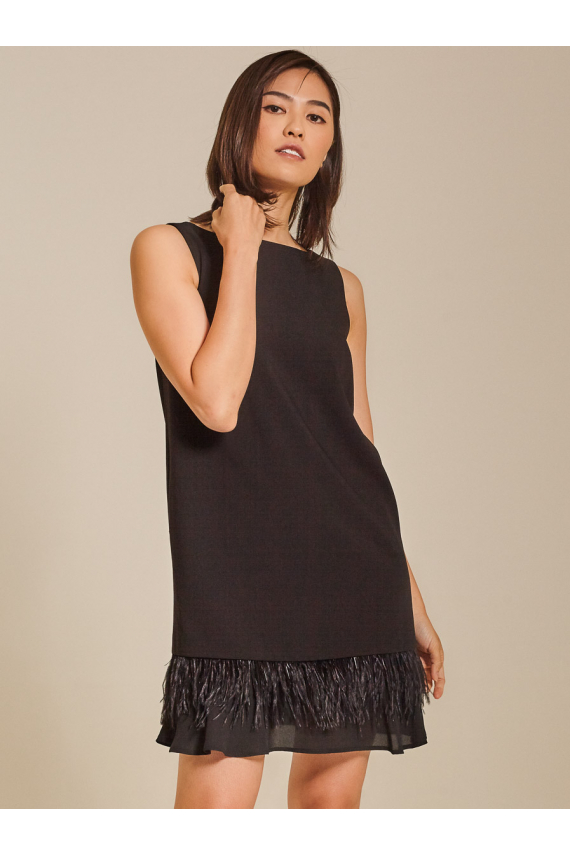 Feather-Trimmed Shift Crepe Dress