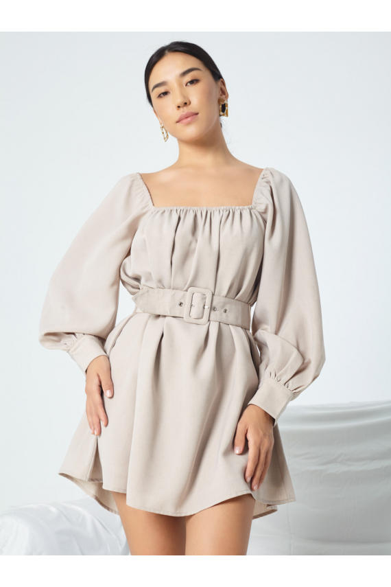 Square Neckline Dress with Long Puffy Sleeves
