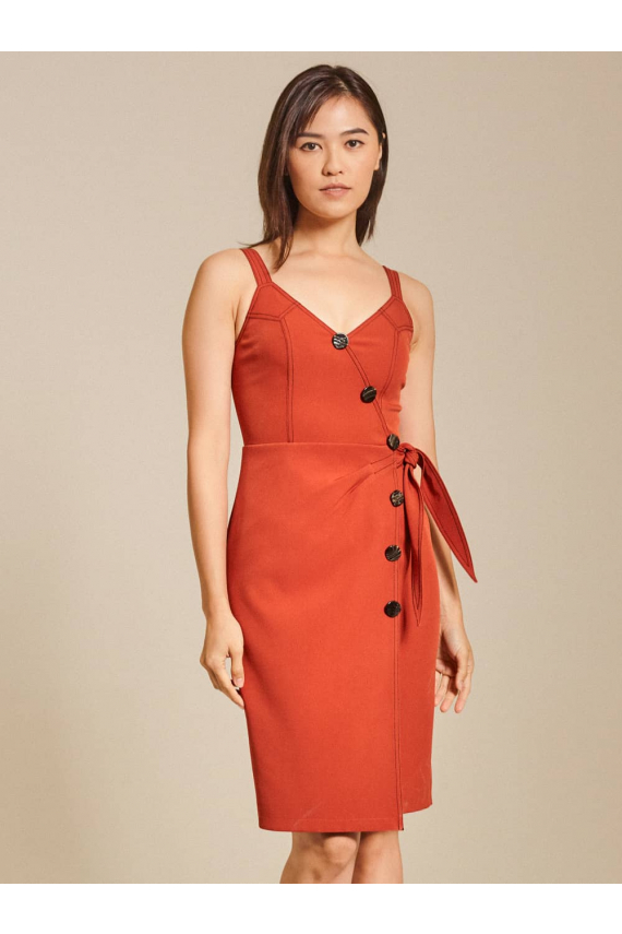Button-Embellished Wrap-Effect Cady Dress