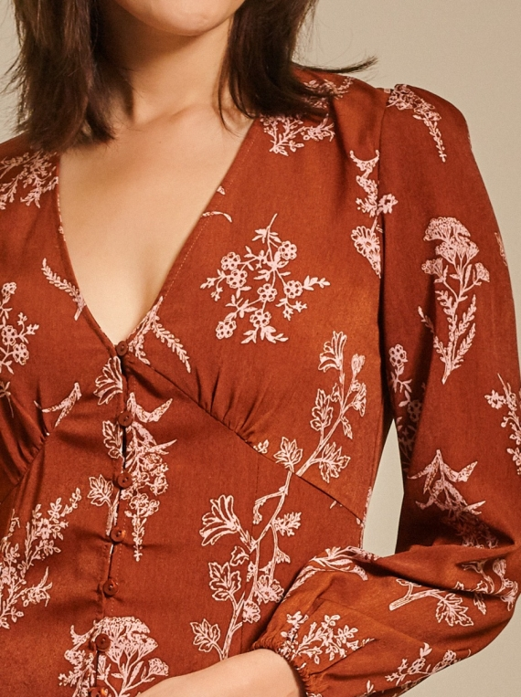 Button -Detailed Printed Crepe Dress