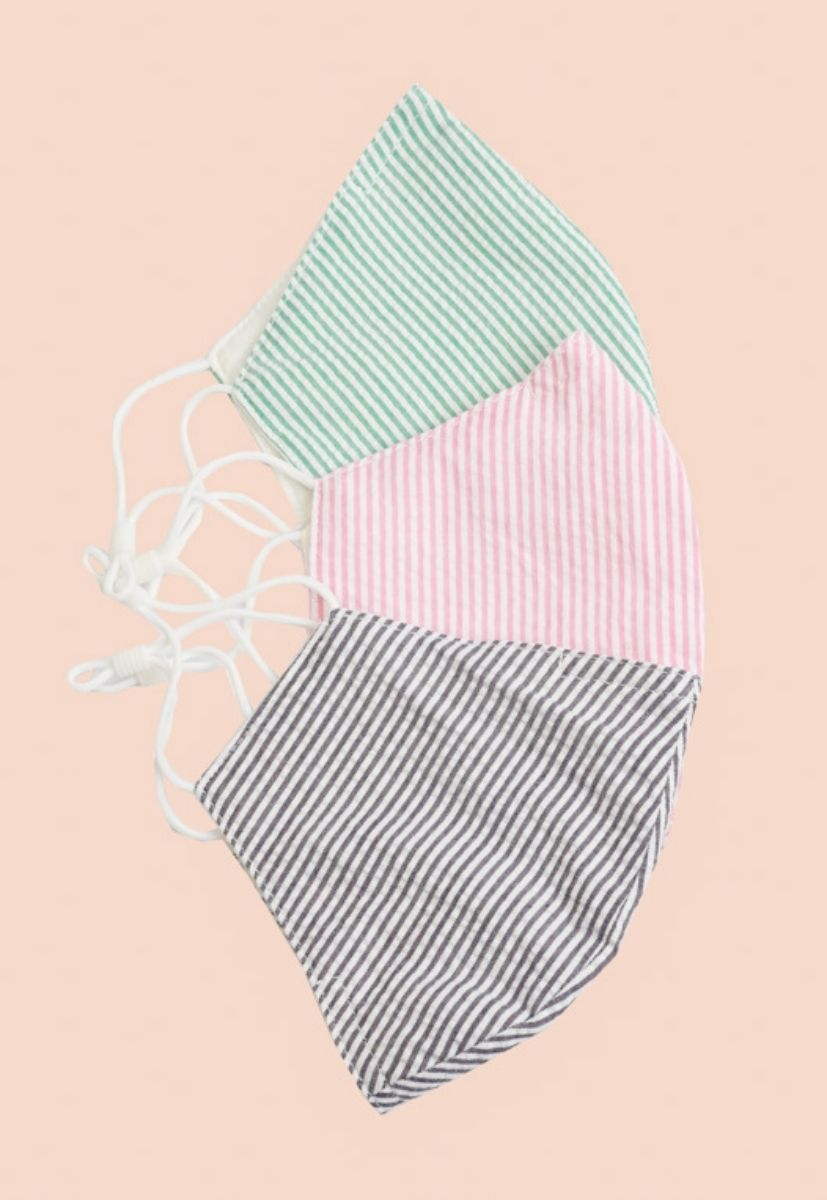 Striped Cotton Face Mask