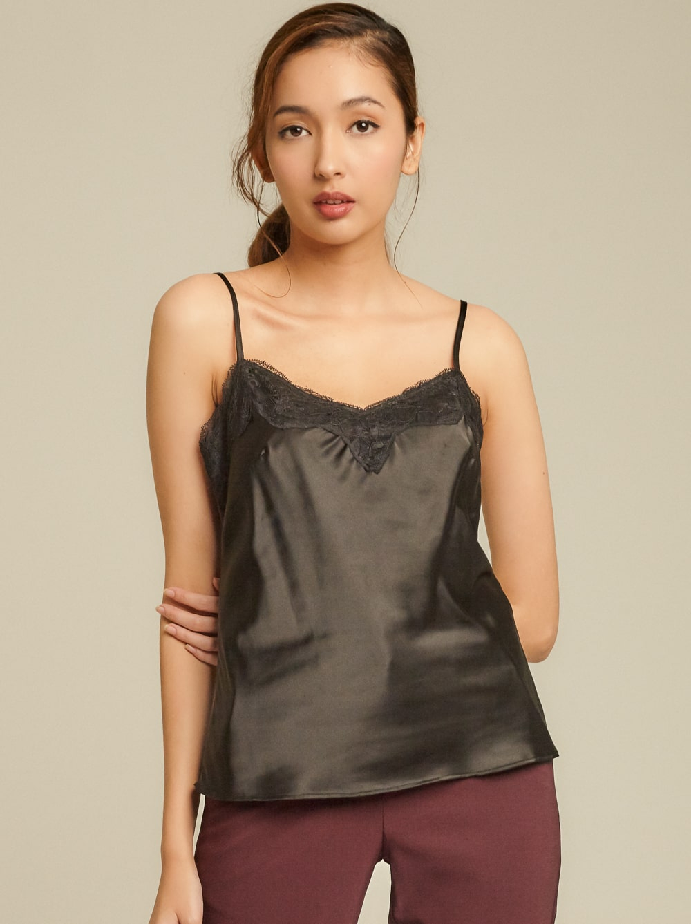 Lace Trimmed Satin Camisole [Back In Stock]