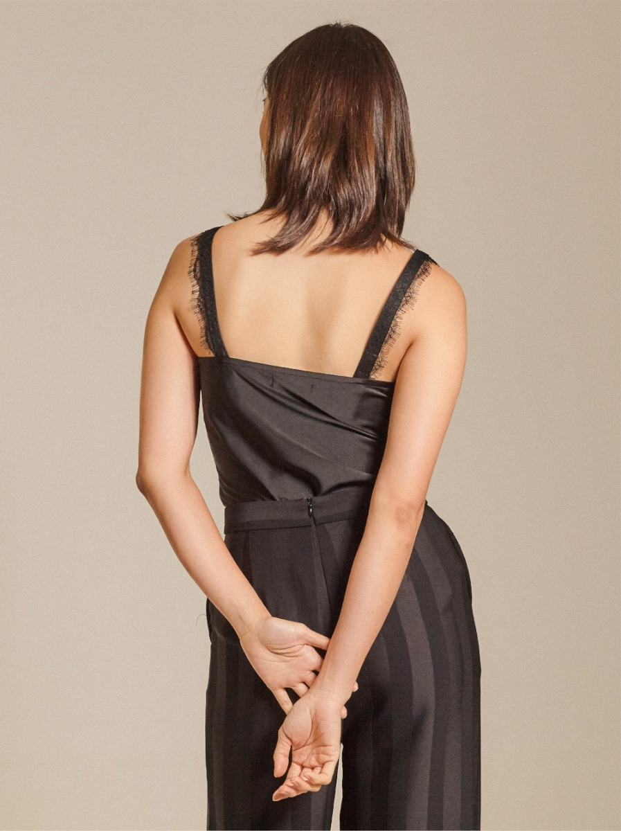 Lace-trimmed Satin Twill Camisole