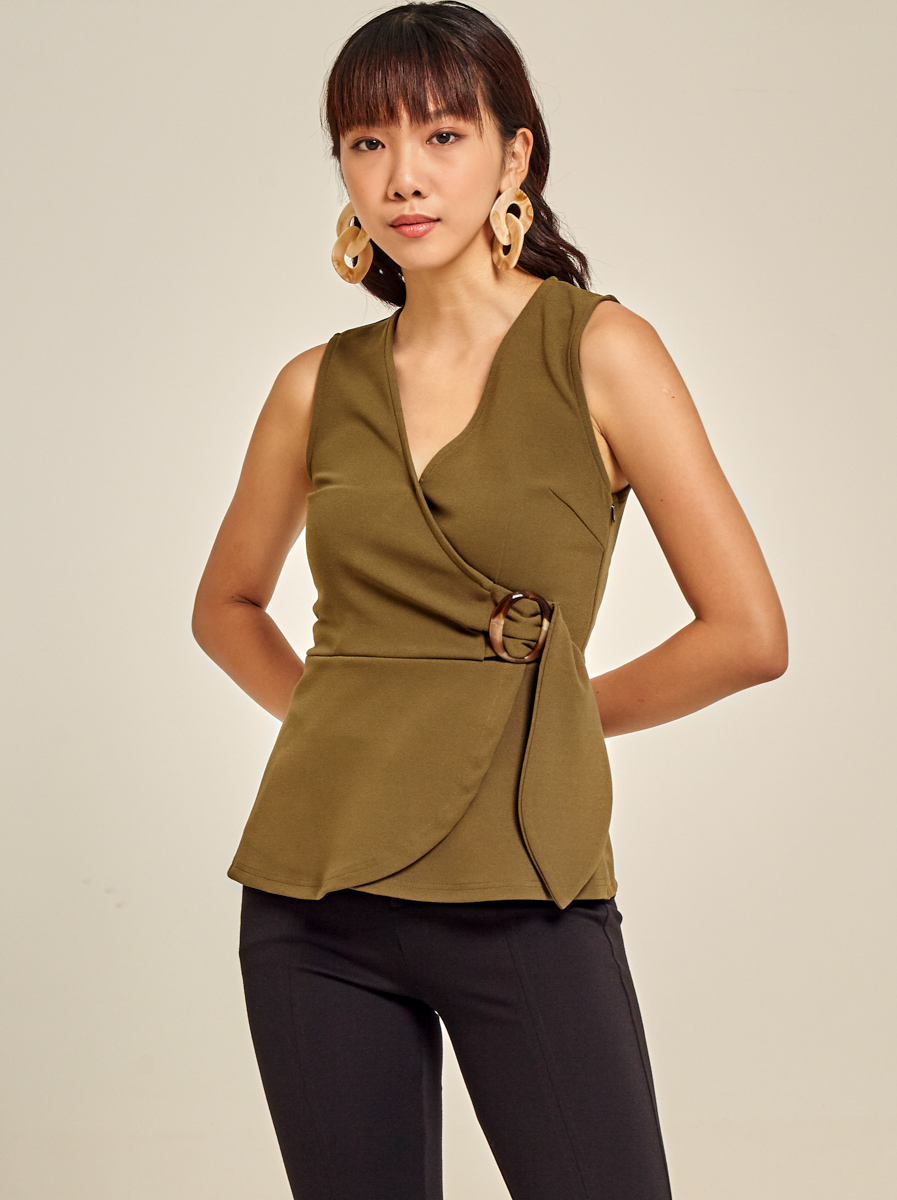Roma Knit Wrap Top with Buckle Detail