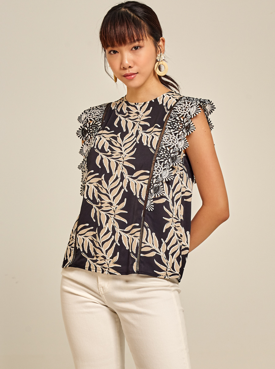 Guipure Lace Trimmed Printed Top