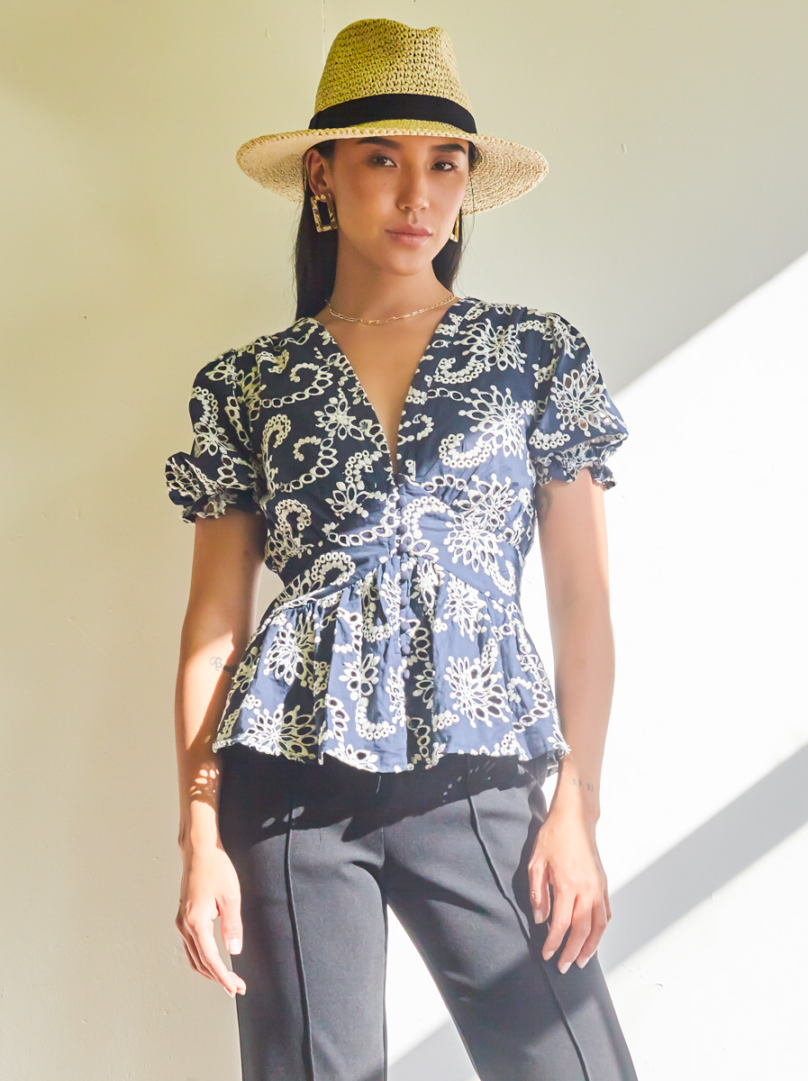 Button Detailed Short Sleeves Top