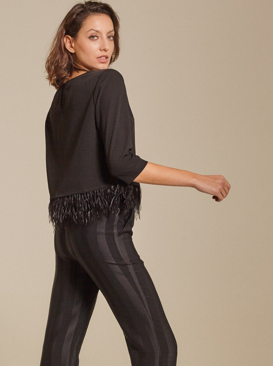 Feather-trimmed Crepe Top