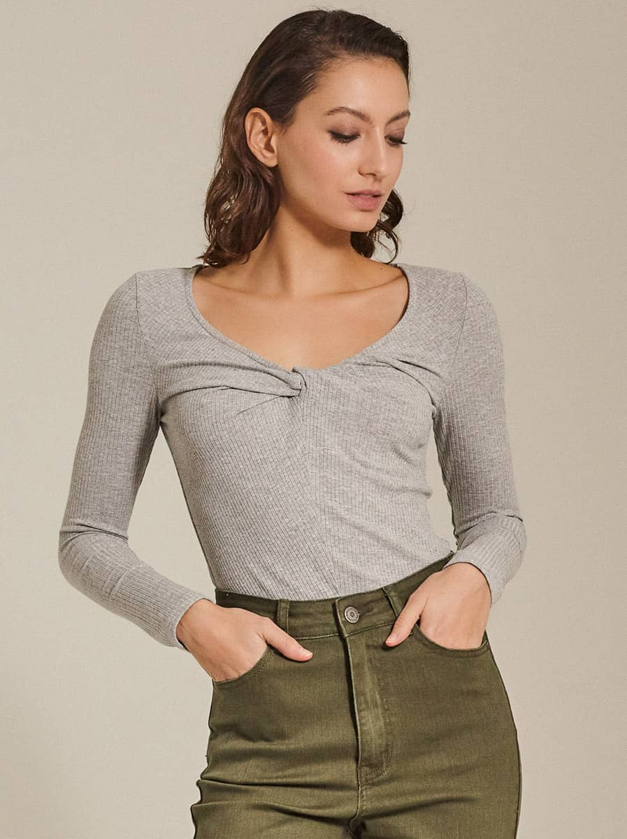 Front Twist Ribbed Top