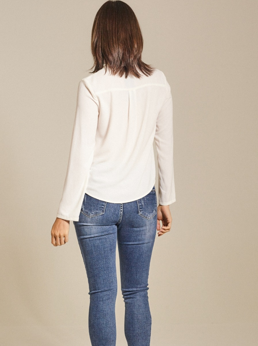 Lace Up Crepe Top