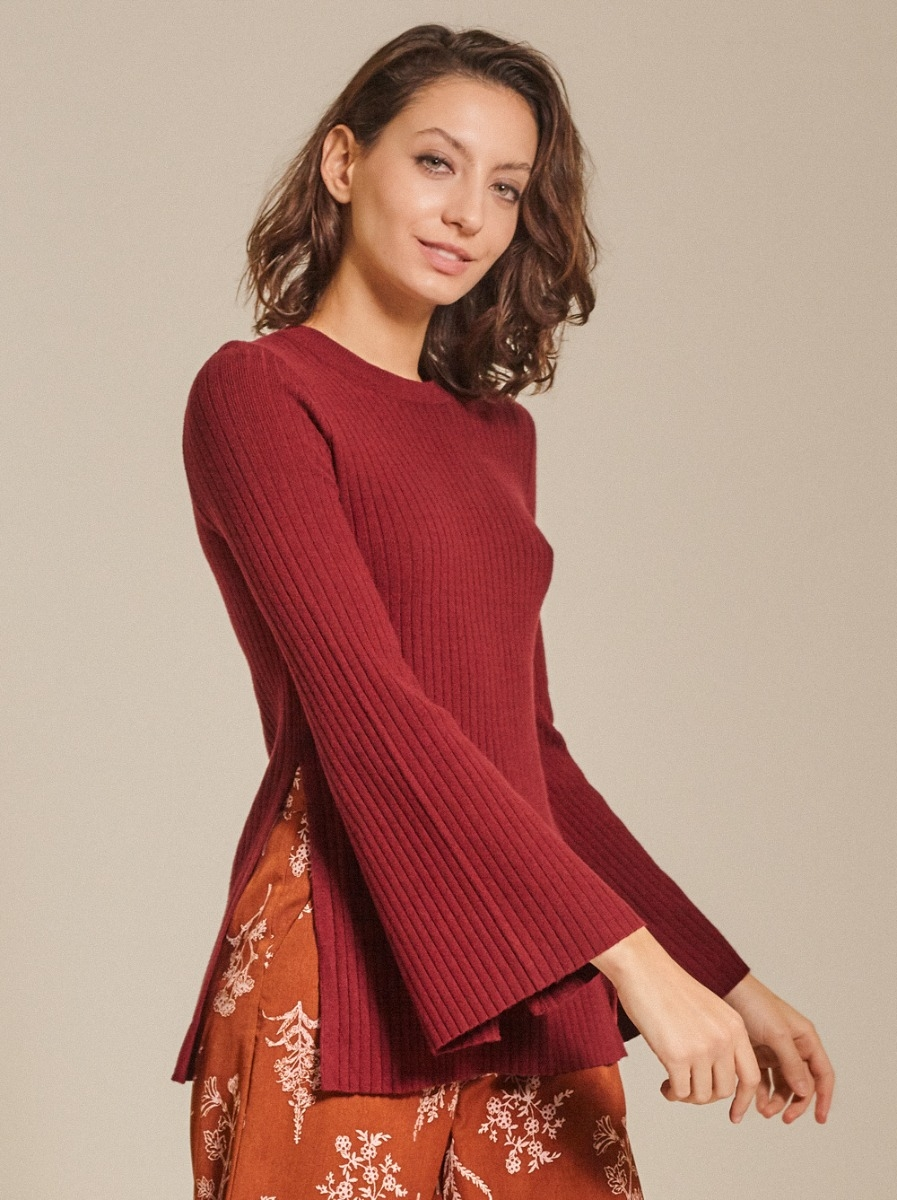 Ribbed-knit Button-embellished Sweater