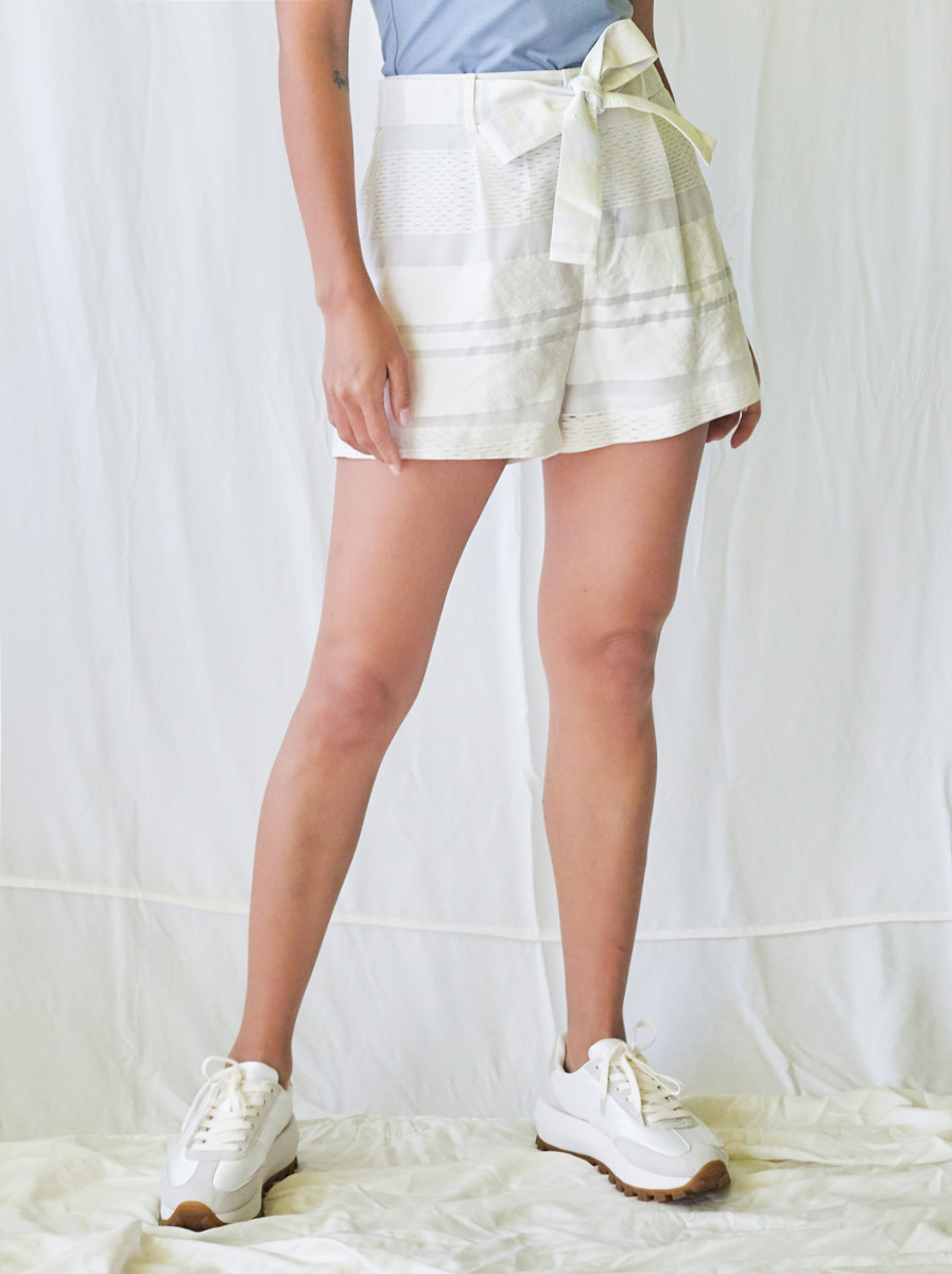 Short Organza Cotton Pants with Waistband