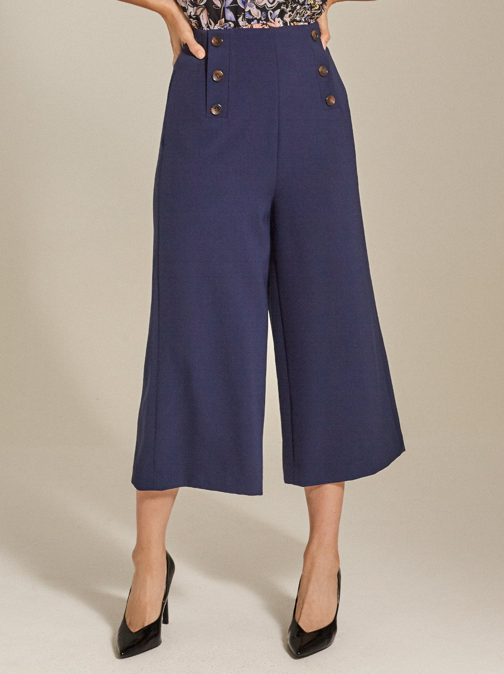 Button-Embellished Cady Culottes