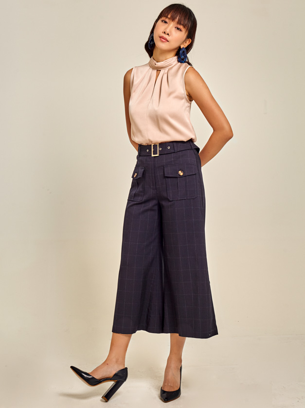 Belted Checked Culottes