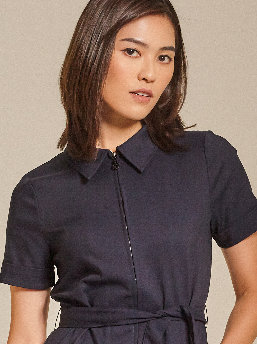 Belted Cady Jumpsuit