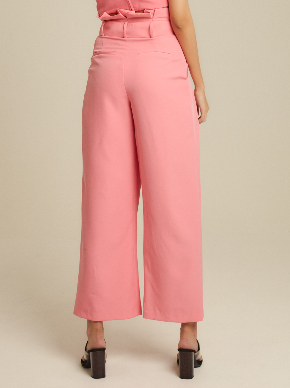 Belted Cady Wide-Leg Pants