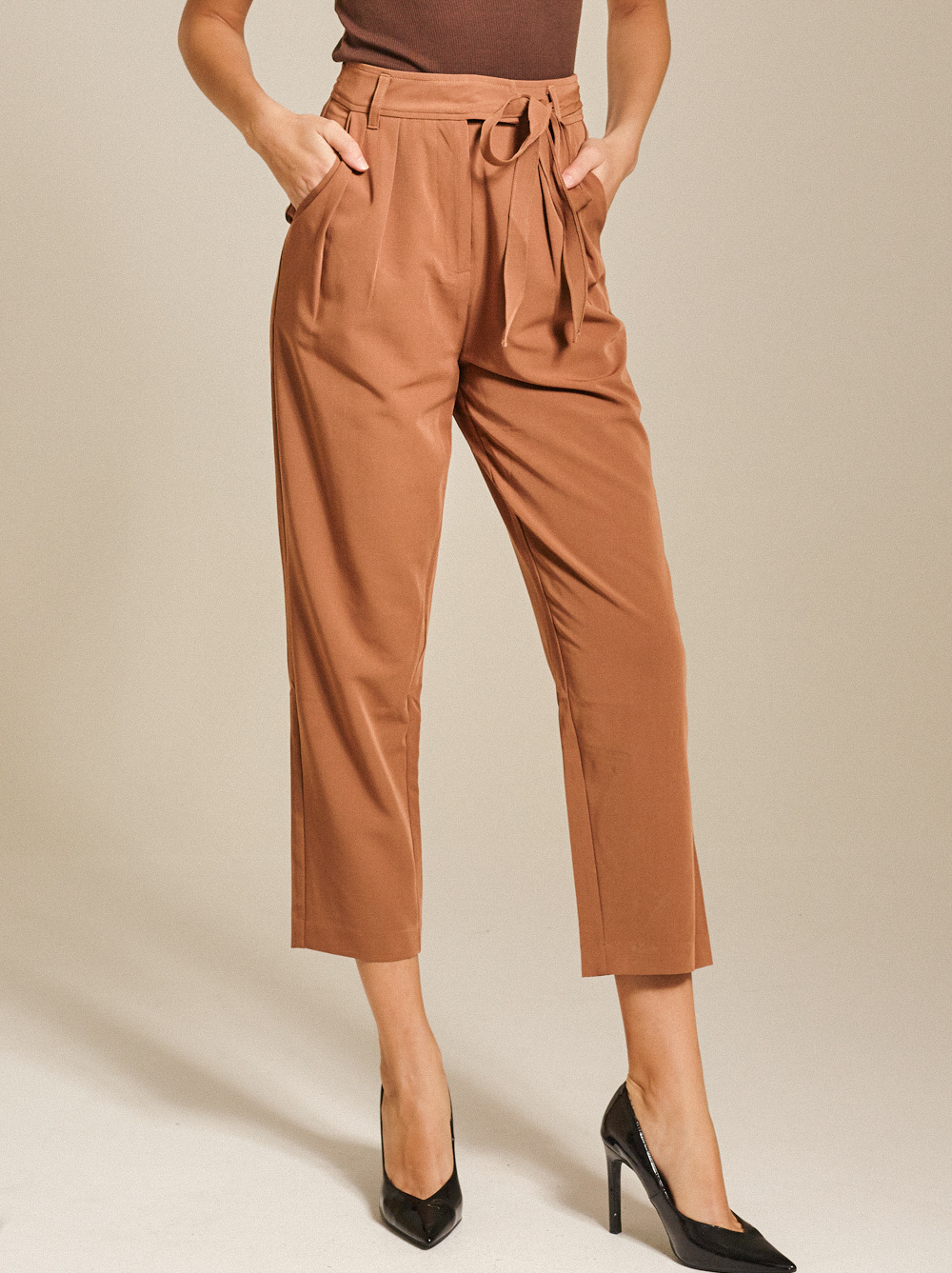 High- Rise Pleated Twill Tapered Pants