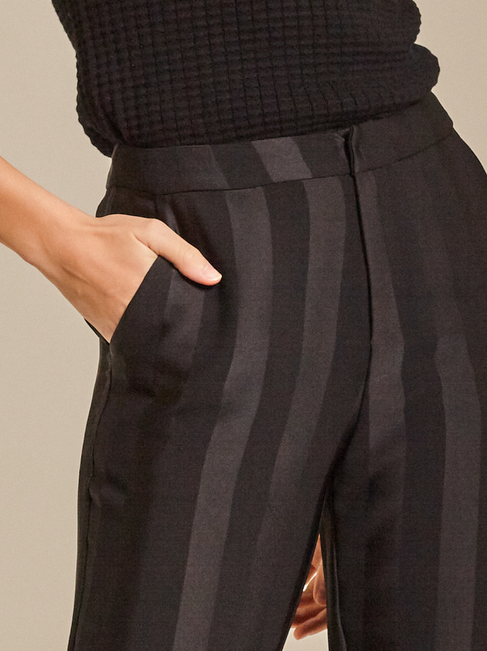 Striped Satin Tapered Pants