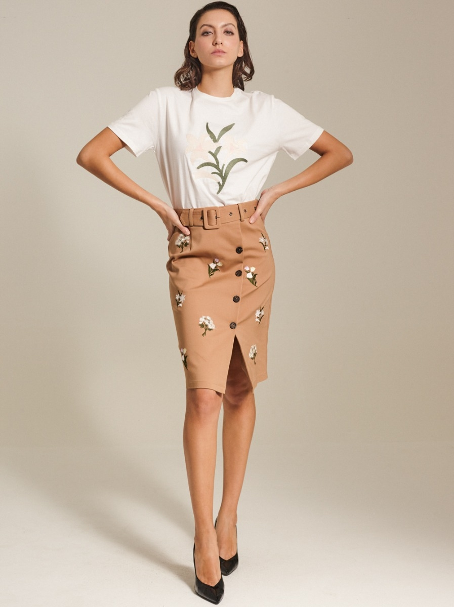 Embroidered Stretch Cotton-Blend Pencil Skirt