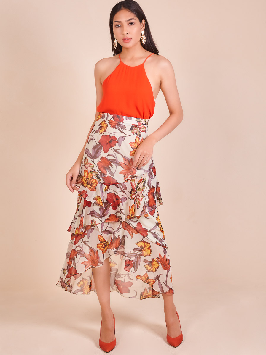 Floral Ruffled Tiered Maxi Skirt