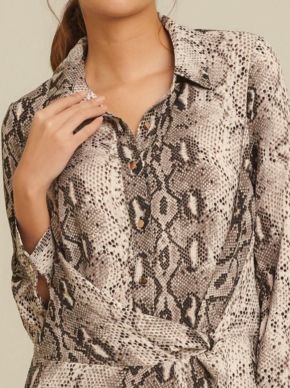 Front Knot Snake-Print Crepe