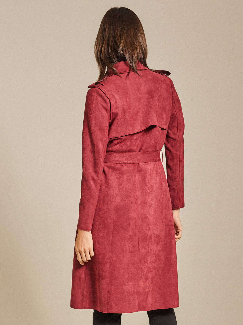 Belted Faux Suede Trench Coat