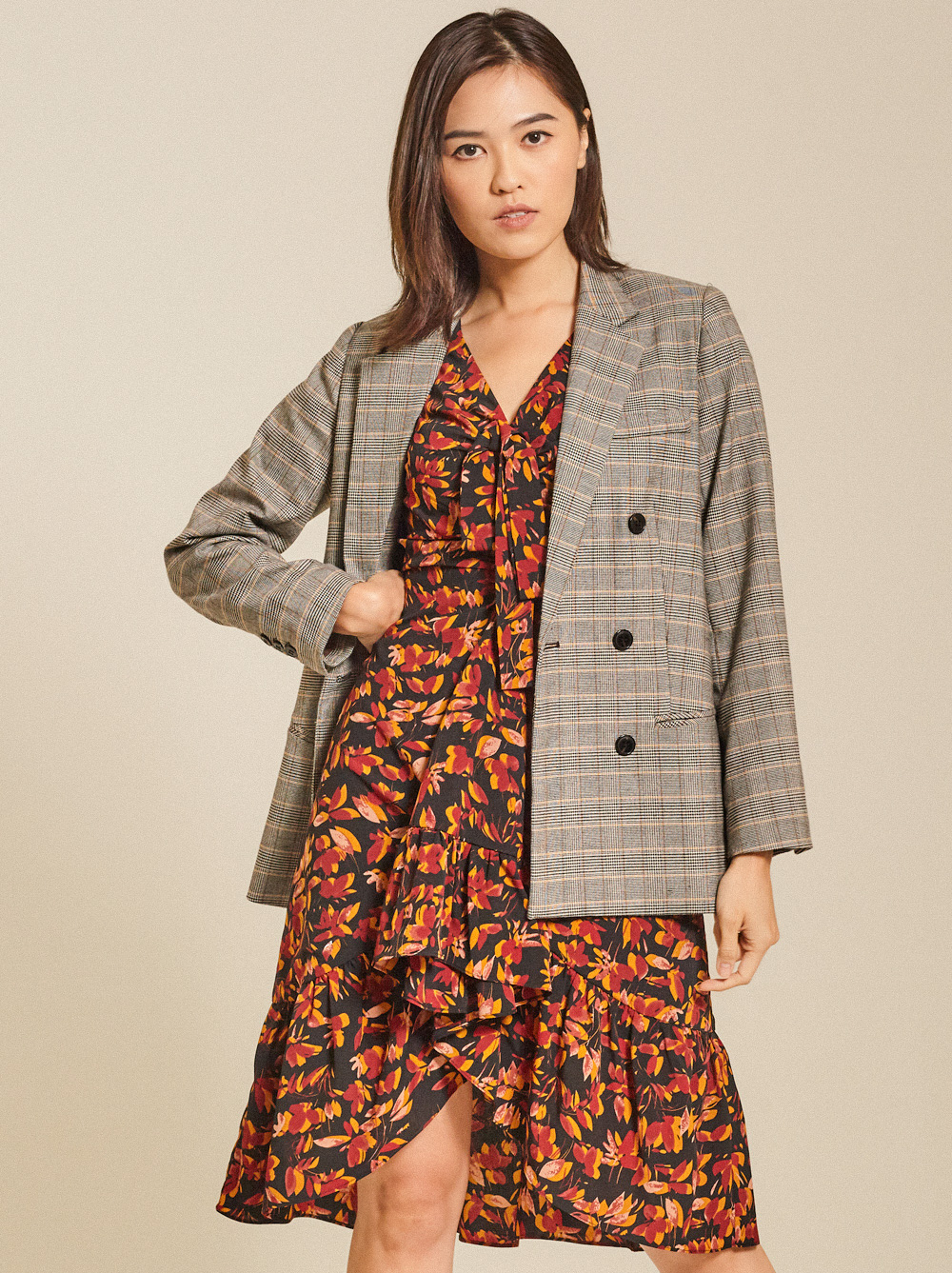 Double-Breasted Checked Cotton-Blend Blazer