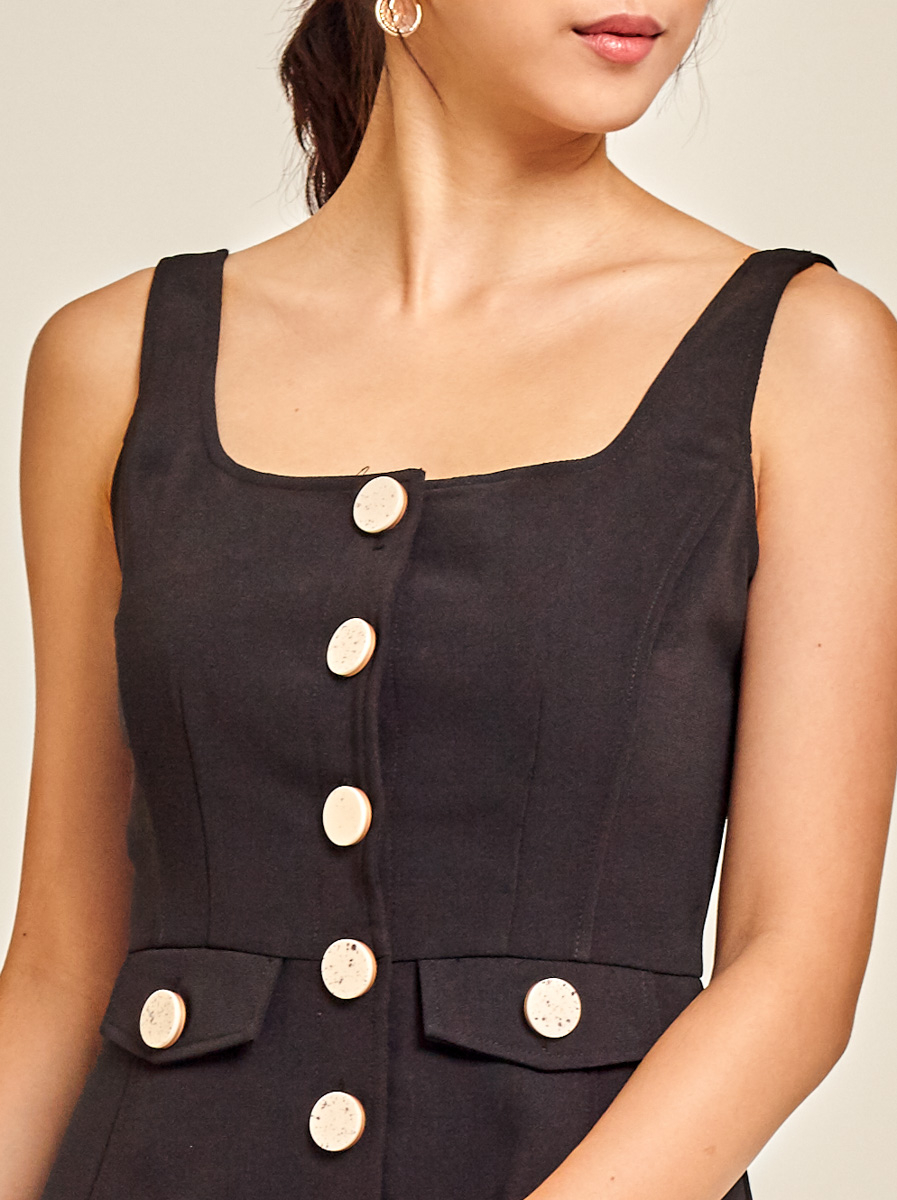 Square Neck Textured Cady Dress