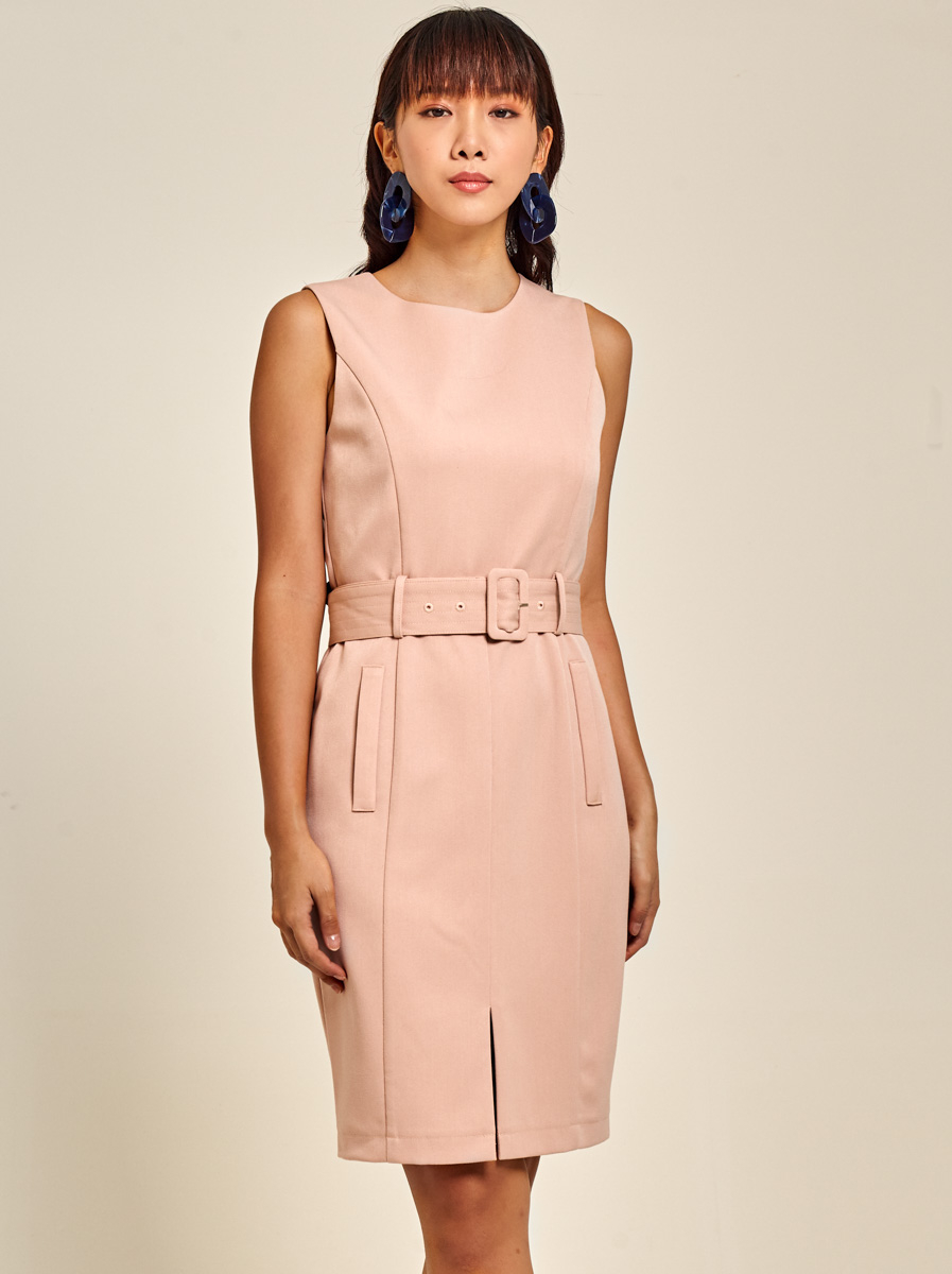 Belted Cotton Twill Dress