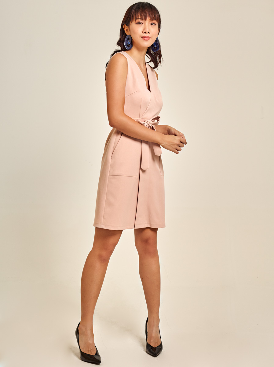 Belted Faux Cotton Twill  Wrap Dress