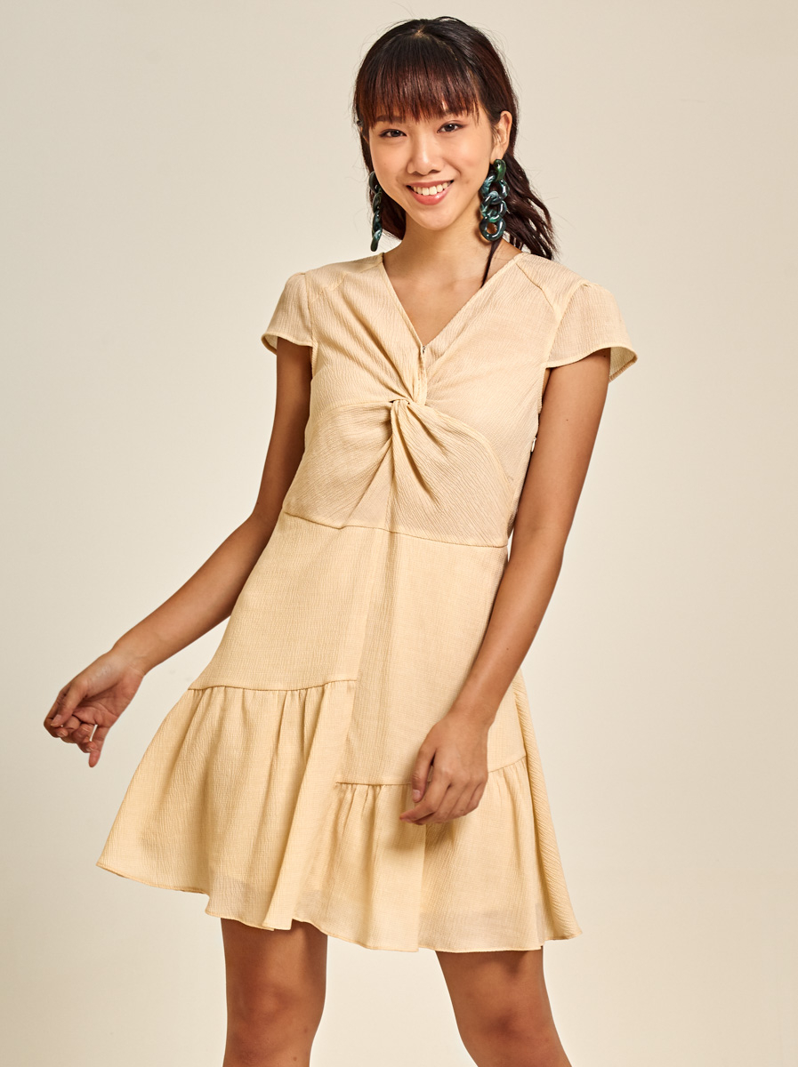 Twisted A-line Textured Crepe Dress