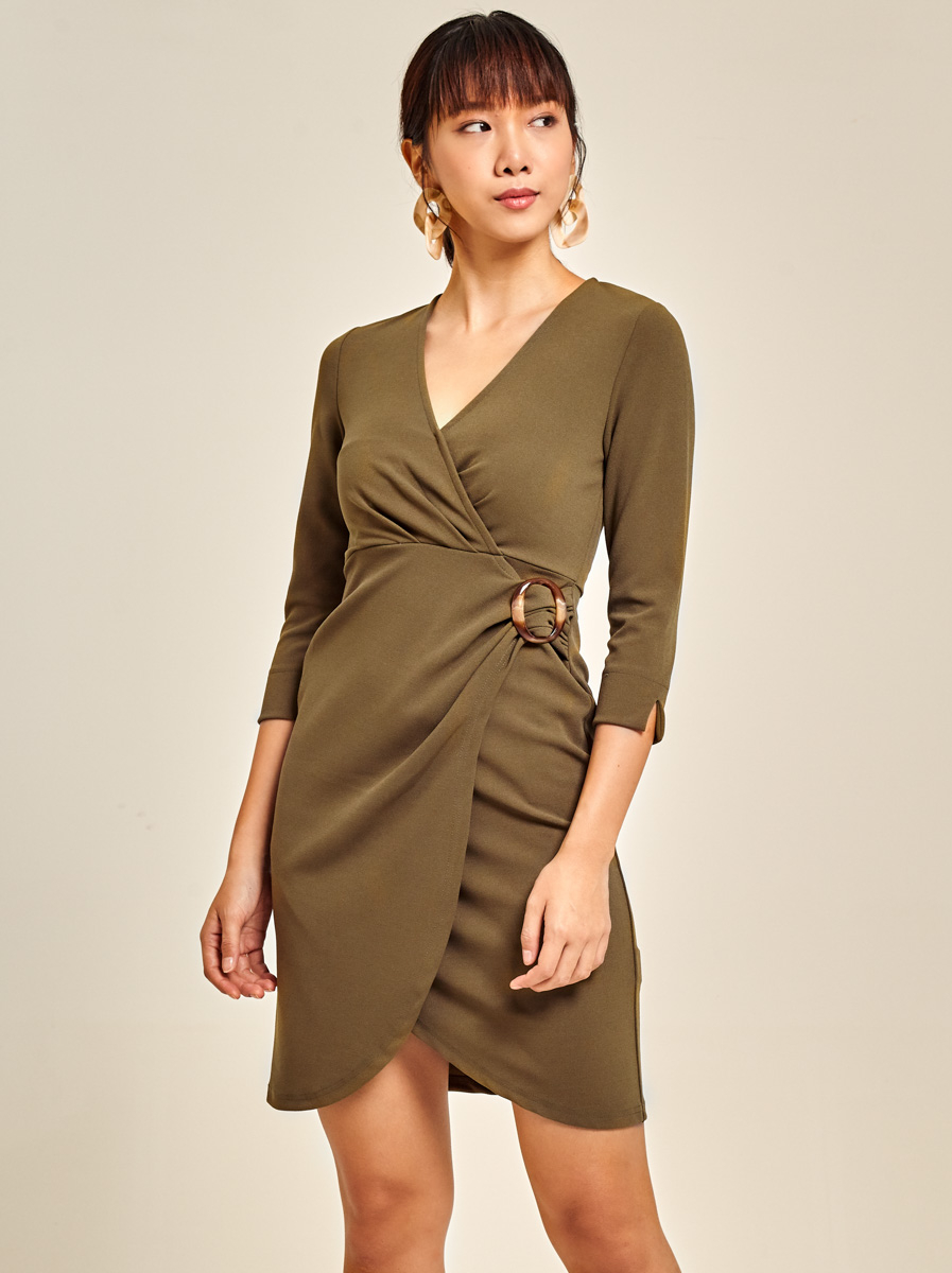 Roma Knit Wrap Dress with Buckle Detail