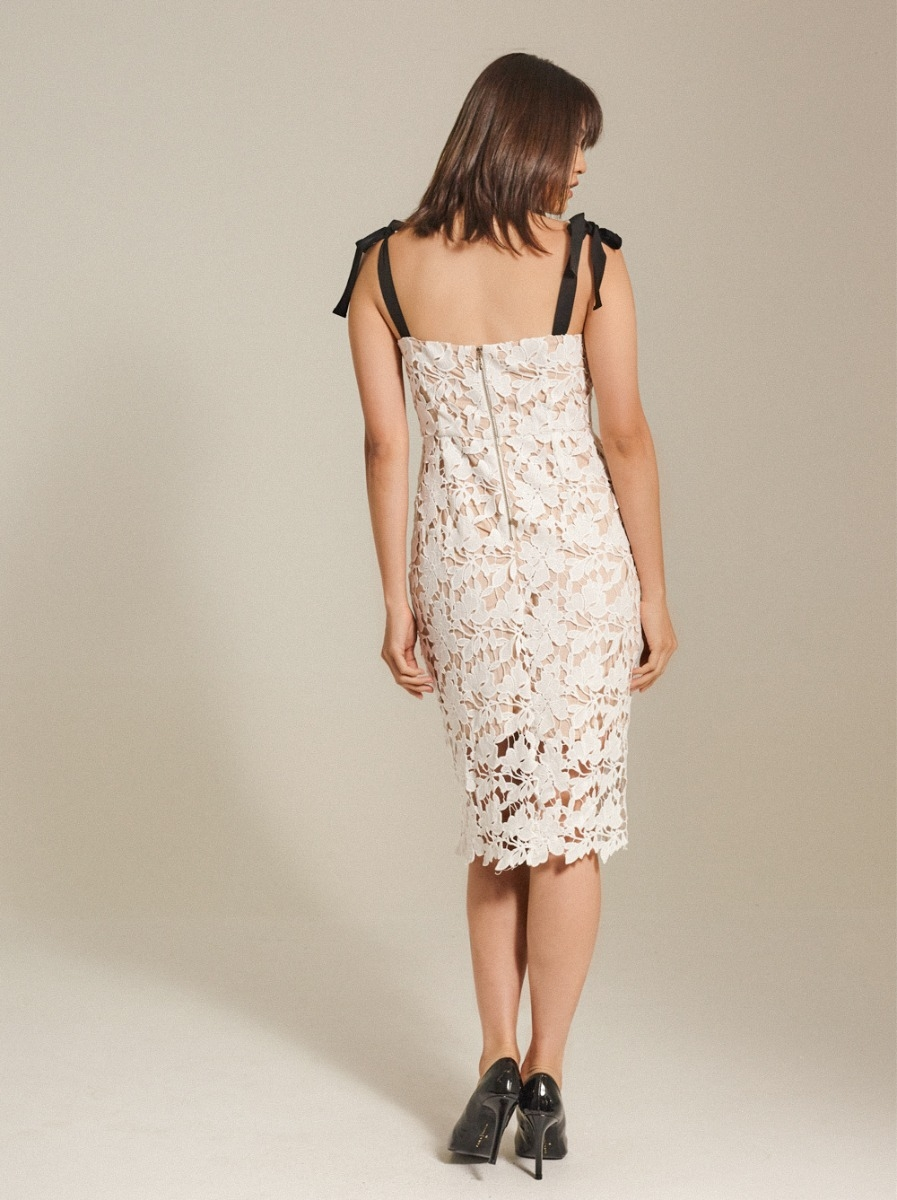 Bow-detailed Guipure Lace Dress