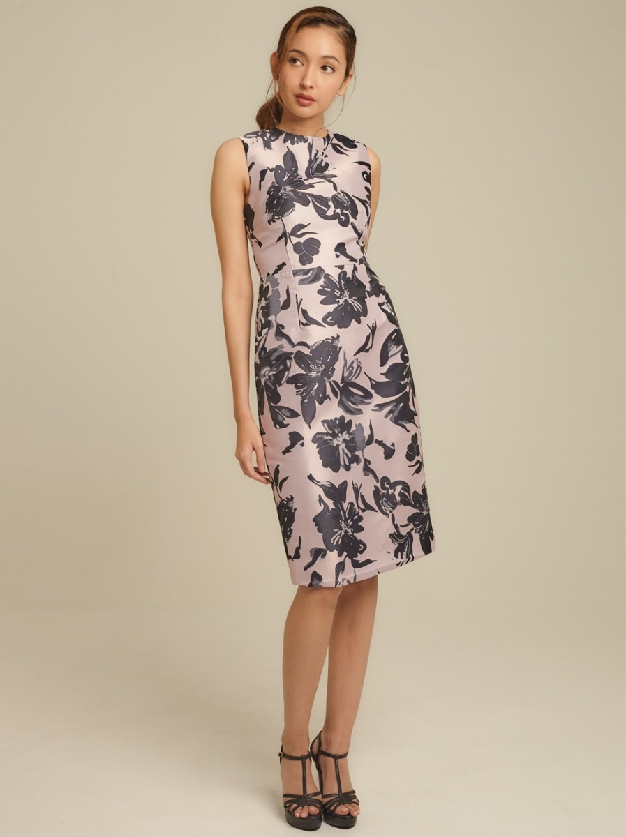 Fitted Floral Jacquard Dress