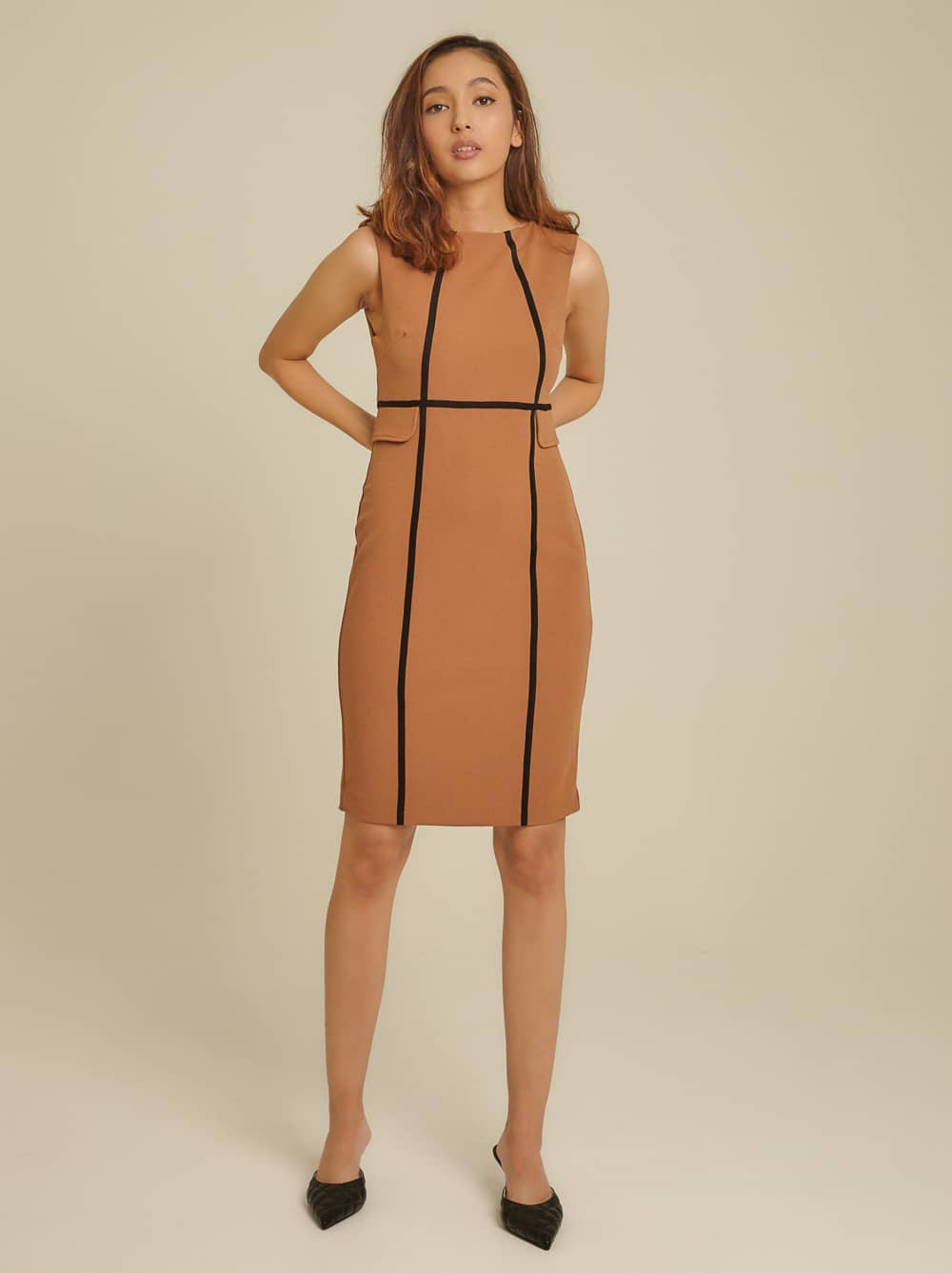 Contrast Piping Roma Knit Bodycon Dress