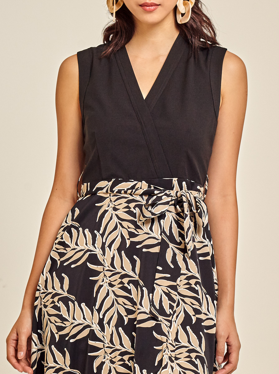 Fit and Flare Printed Crepe Dress