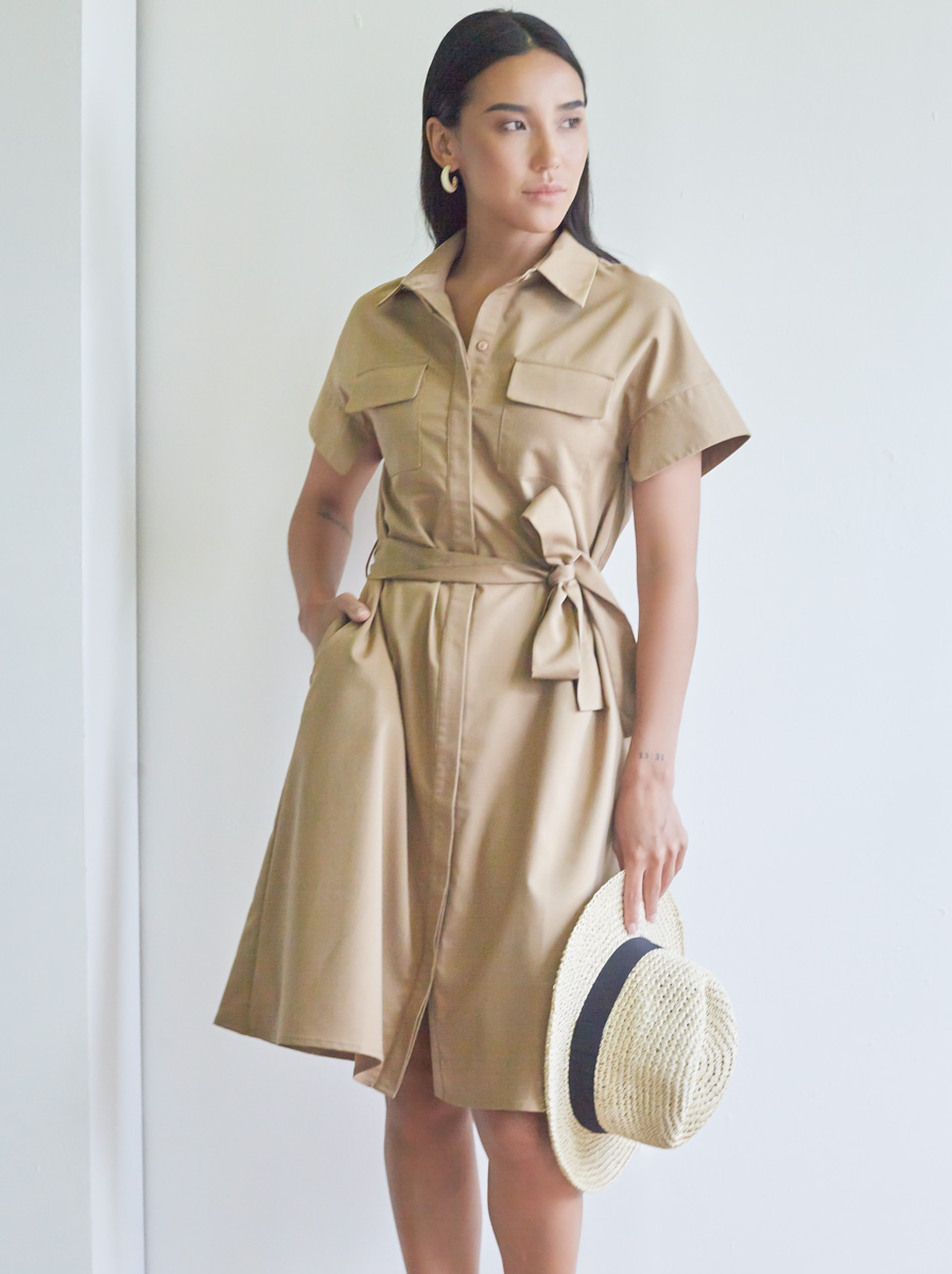 Collared Short Sleeves A-line Dress