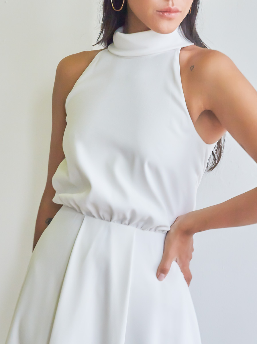 Collared Box-Pleated Flare Dress