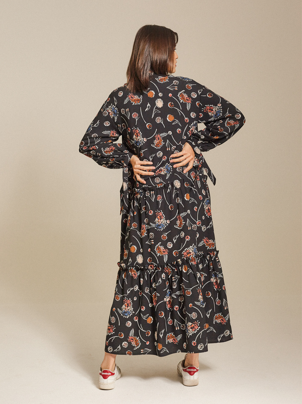 Tiered Printed Crepe Maxi Dress
