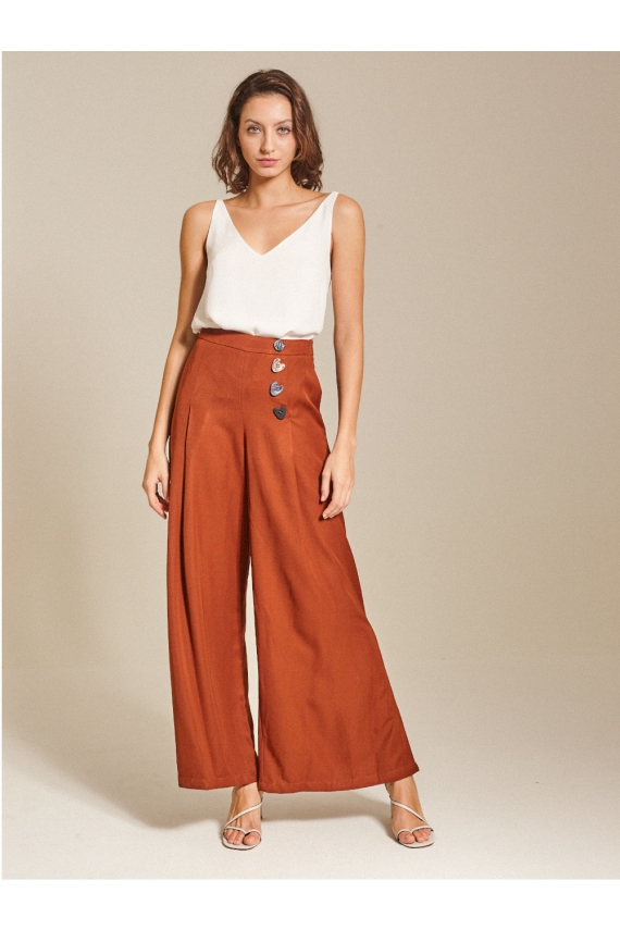 Button-Embellished Crepe Culottes
