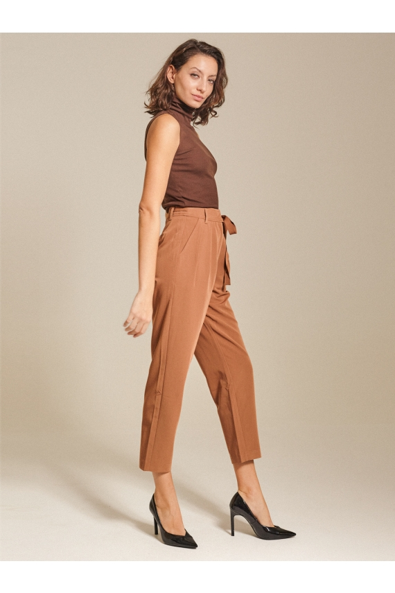 High-rise Pleated Twill Tapered Pants