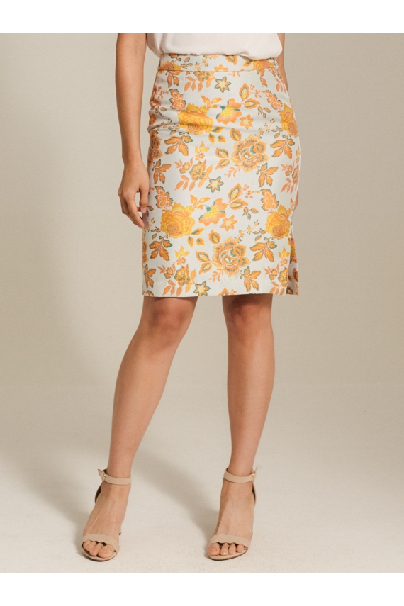 Oriental Jacquard Pencil Skirt