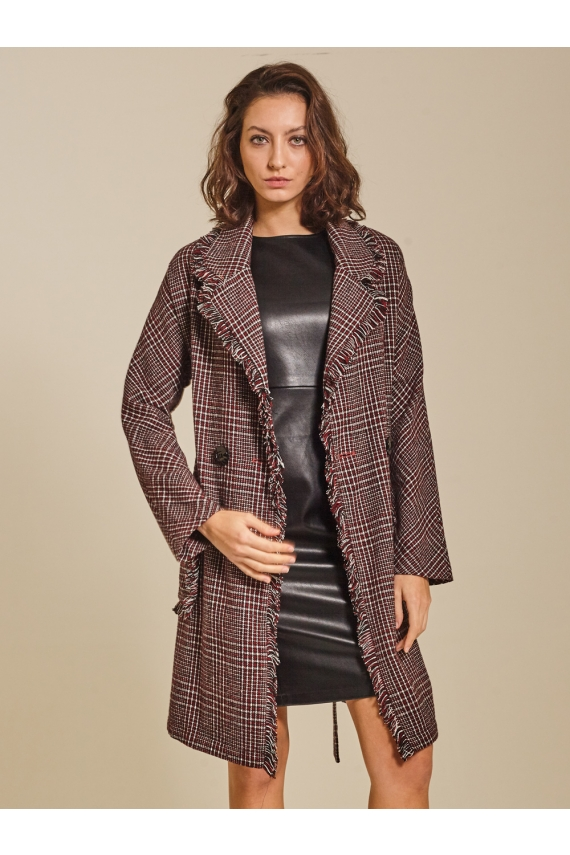 Plaid Wool-blend Oversized Coat