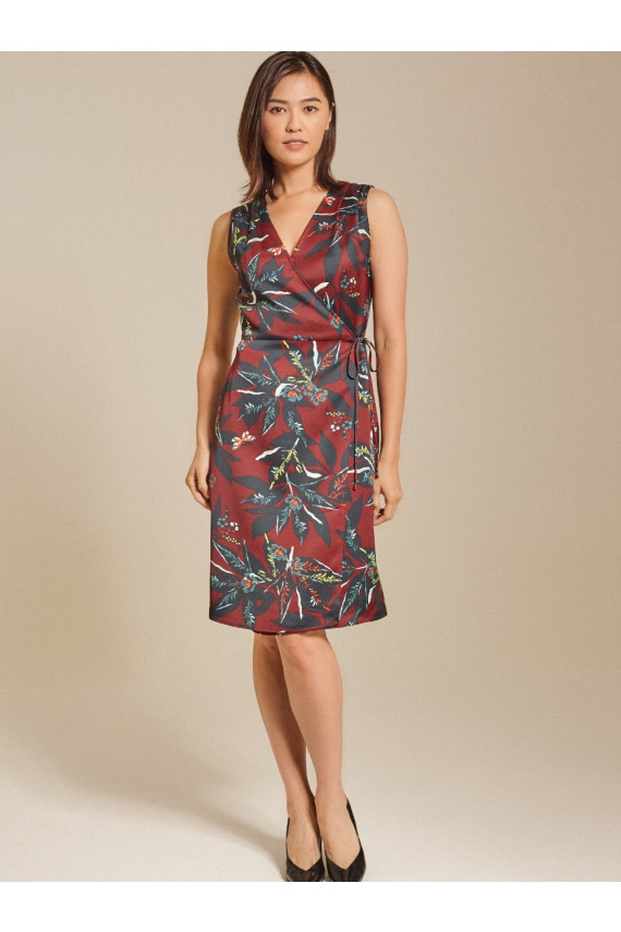 Floral Printed Satin Wrap Dress