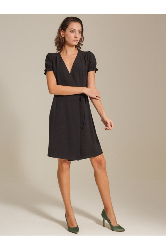 Puff Sleeve Cotton Linen Wrap Dress