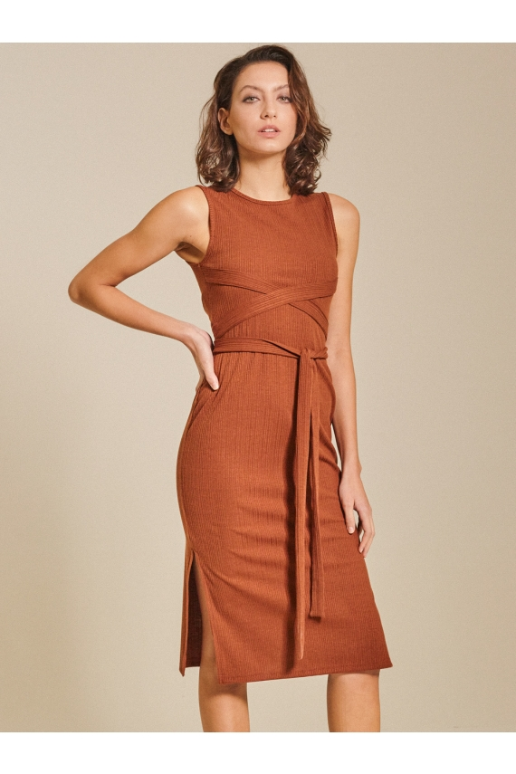 Self-tie Ribbed Jersey Dress
