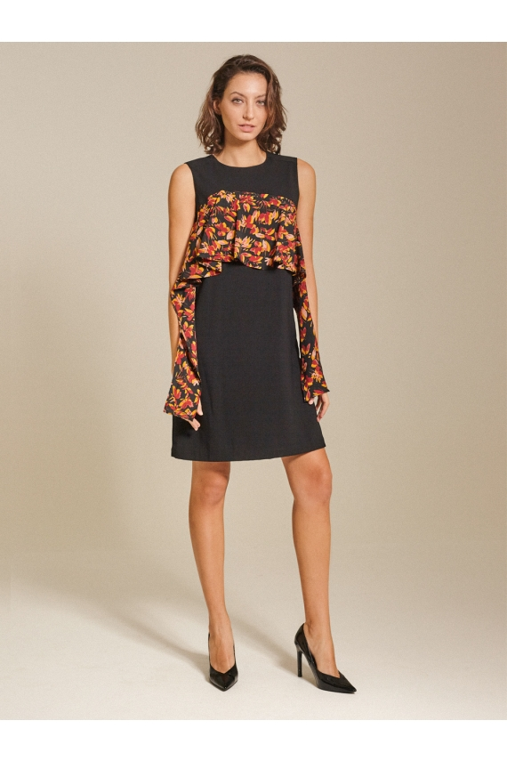 Ruffled Printed Crepe Shift Dress